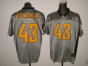 Wholesale Cheap Steelers #43 Troy Polamalu Grey Shadow Stitched NFL Jersey