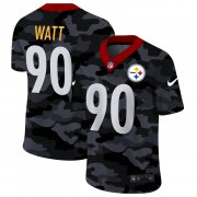 Cheap Pittsburgh Steelers #90 T.J. Watt Men's Nike 2020 Black CAMO Vapor Untouchable Limited Stitched NFL Jersey