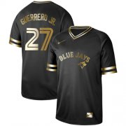 Wholesale Cheap Nike Blue Jays #27 Vladimir Guerrero Jr. Black Gold Authentic Stitched MLB Jersey