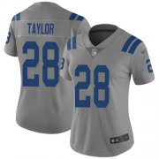 Wholesale Cheap Nike Colts #28 Jonathan Taylor Gray Women's Stitched NFL Limited Inverted Legend Jersey