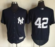 Wholesale Cheap Yankees #42 Mariano Rivera Navy Blue Flexbase Authentic Collection Stitched MLB Jersey