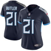 Wholesale Cheap Nike Titans #21 Malcolm Butler Navy Blue Team Color Women's Stitched NFL Vapor Untouchable Limited Jersey