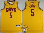 Wholesale Cheap Men's Cleveland Cavaliers #5 J.R. Smith 2016 The NBA Finals Patch Yellow Jersey
