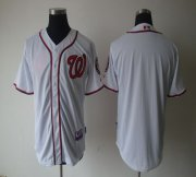 Wholesale Cheap Nationals Blank White Cool Base Stitched MLB Jersey
