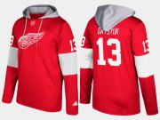 Wholesale Cheap Red Wings #13 Pavel Datsyuk Red Name And Number Hoodie