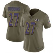 Wholesale Cheap Nike Ravens #27 J.K. Dobbins Olive Women's Stitched NFL Limited 2017 Salute To Service Jersey
