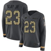 Wholesale Cheap Nike Lions #23 Darius Slay Jr Anthracite Salute to Service Women's Stitched NFL Limited Therma Long Sleeve Jersey