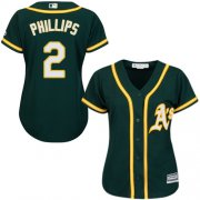Wholesale Cheap Athletics #2 Tony Phillips Green Alternate Women's Stitched MLB Jersey