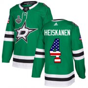 Wholesale Cheap Adidas Stars #4 Miro Heiskanen Green Home Authentic USA Flag 2020 Stanley Cup Final Stitched NHL Jersey
