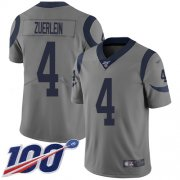 Wholesale Cheap Nike Rams #4 Greg Zuerlein Gray Men's Stitched NFL Limited Inverted Legend 100th Season Jersey