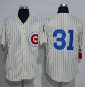 Wholesale Cheap Mitchell And Ness 1969 Cubs #31 Greg Maddux Cream Strip Throwback Stitched MLB Jersey