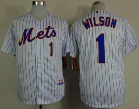 Wholesale Cheap Mets #1 Mookie Wilson White(Blue Strip) Home Cool Base Stitched MLB Jersey