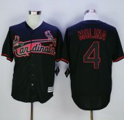 Wholesale Cheap Cardinals #4 Yadier Molina Black New Cool Base Fashion Stitched MLB Jersey
