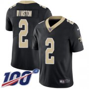Wholesale Cheap Nike Saints #2 Jameis Winston Black Team Color Men's Stitched NFL 100th Season Vapor Untouchable Limited Jersey