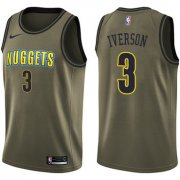 Wholesale Cheap Nike Denver Nuggets #3 Allen Iverson Green Salute to Service NBA Swingman Jersey