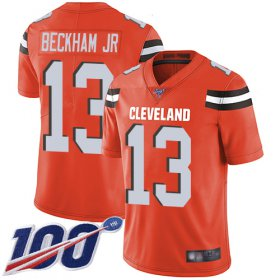 Wholesale Cheap Nike Browns #13 Odell Beckham Jr Orange Alternate Youth Stitched NFL 100th Season Vapor Limited Jersey