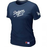 Wholesale Cheap Women's Los Angeles Dodgers Nike Short Sleeve Practice MLB T-Shirt Midnight Blue