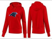 Wholesale Cheap Women's Carolina Panthers Logo Pullover Hoodie Red