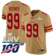 Wholesale Cheap Nike 49ers #99 DeForest Buckner Gold Super Bowl LIV 2020 Men's Stitched NFL Limited Inverted Legend 100th Season Jersey