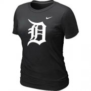 Wholesale Cheap Women's Detroit Tigers Heathered Nike Black Blended T-Shirt