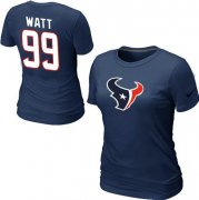 Wholesale Cheap Women's Nike Houston Texans #99 J.J. Watt Name & Number T-Shirt Blue