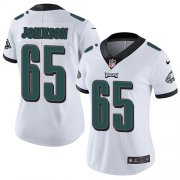 Wholesale Cheap Nike Eagles #65 Lane Johnson White Women's Stitched NFL Vapor Untouchable Limited Jersey