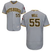 Wholesale Cheap Pittsburgh Pirates #55 Josh Bell Majestic Road Flex Base Authentic Collection Jersey Gray