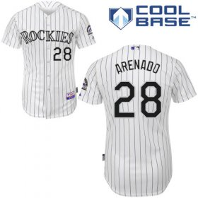 Wholesale Cheap Rockies #28 Nolan Arenado White Cool Base Stitched Youth MLB Jersey