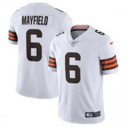 Wholesale Cheap Cleveland Browns #6 Baker Mayfield Men's Nike White 2020 Vapor Limited Jersey