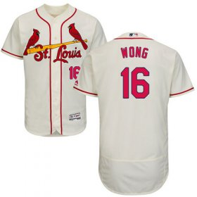 Wholesale Cheap Cardinals #16 Kolten Wong Cream Flexbase Authentic Collection Stitched MLB Jersey