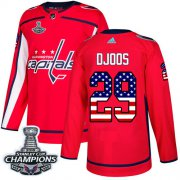 Wholesale Cheap Adidas Capitals #29 Christian Djoos Red Home Authentic USA Flag Stanley Cup Final Champions Stitched NHL Jersey