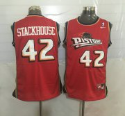 Wholesale Cheap Men's Detroit Pistons #42 Jerry Stackhouse Red Hardwood Classics Soul Swingman Throwback Jersey