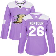 Wholesale Cheap Adidas Ducks #26 Brandon Montour Purple Authentic Fights Cancer Women's Stitched NHL Jersey