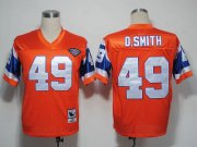 Wholesale Cheap Mitchel and Ness Broncos #49 Dennis Smith Orange With 75 Anniversary Patch Stitched Throwback NFL Jersey