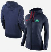 Wholesale Cheap Women's Nike New York Jets Full-Zip Performance Hoodie Dark Blue