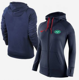 Wholesale Cheap Women\'s Nike New York Jets Full-Zip Performance Hoodie Dark Blue