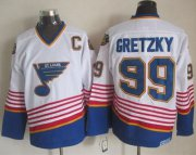 Wholesale Cheap Blues #99 Wayne Gretzky White CCM Throwback Stitched NHL Jersey