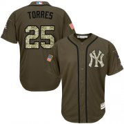 Wholesale Cheap Yankees #25 Gleyber Torres Green Salute to Service Stitched MLB Jersey