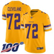 Wholesale Cheap Nike Vikings #72 Ezra Cleveland Gold Men's Stitched NFL Limited Inverted Legend 100th Season Jersey