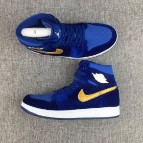 Wholesale Cheap Air Jordan 1 GS Retro Shoes True Blue/Gold-White