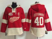 Wholesale Cheap Detroit Red Wings #40 Henrik Zetterberg Red Women's Old Time Lacer NHL Hoodie