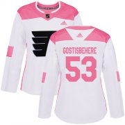 Wholesale Cheap Adidas Flyers #53 Shayne Gostisbehere White/Pink Authentic Fashion Women's Stitched NHL Jersey