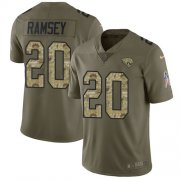 Wholesale Cheap Nike Jaguars #20 Jalen Ramsey Olive/Camo Men's Stitched NFL Limited 2017 Salute To Service Jersey