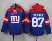 Wholesale Cheap Nike Giants #87 Sterling Shepard Royal Blue Player Pullover NFL Hoodie