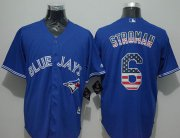 Wholesale Cheap Blue Jays #6 Marcus Stroman Blue USA Flag Fashion Stitched MLB Jersey