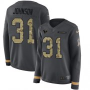 Wholesale Cheap Nike Texans #31 David Johnson Anthracite Salute to Service Women's Stitched NFL Limited Therma Long Sleeve Jersey