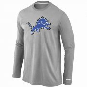 Wholesale Cheap Nike Detroit Lions Logo Long Sleeve T-Shirt Grey