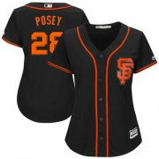 Wholesale Cheap Giants #28 Buster Posey Black Women's Alternate Stitched MLB Jersey
