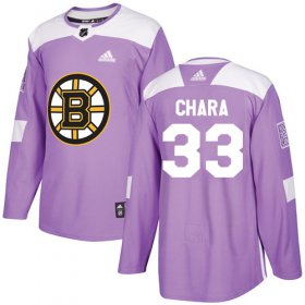 Wholesale Cheap Adidas Bruins #33 Zdeno Chara Purple Authentic Fights Cancer Youth Stitched NHL Jersey