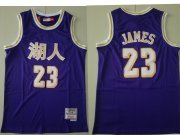 Wholesale Cheap Men's Los Angeles Lakers #23 Lebron James Purple Chinese Hardwood Classics Soul Swingman Throwback Jersey